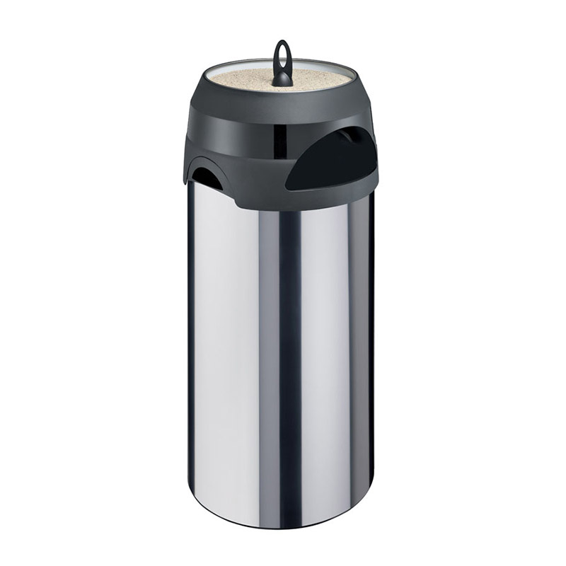 Smoke-Line Aschenbecher-Papierkorb Edelstahl/schwarz