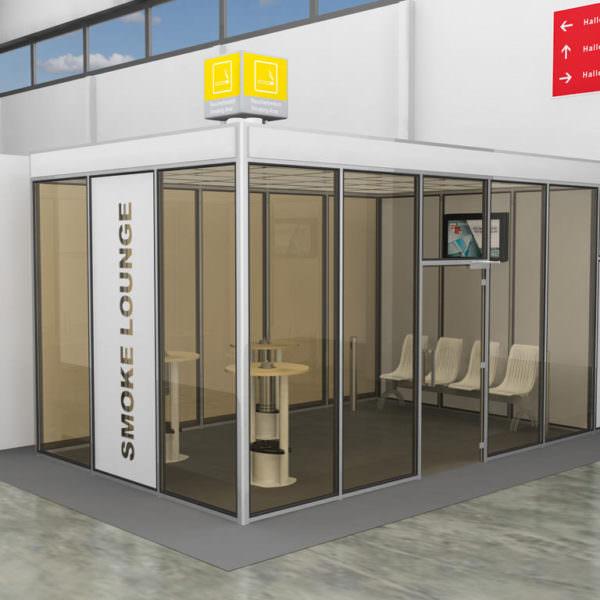 Raucherkabine Smoke-Lounge Vario 3 x 6 (Für 15 Personen)
