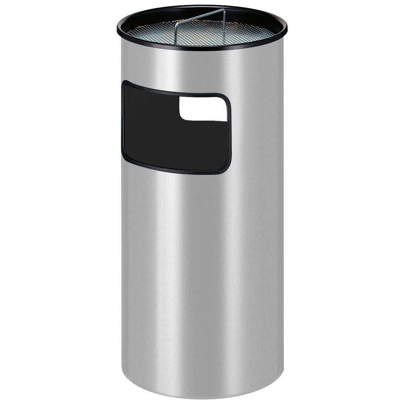 Smoke-Line Aschenbecher-Papierkorb Aluminium grau