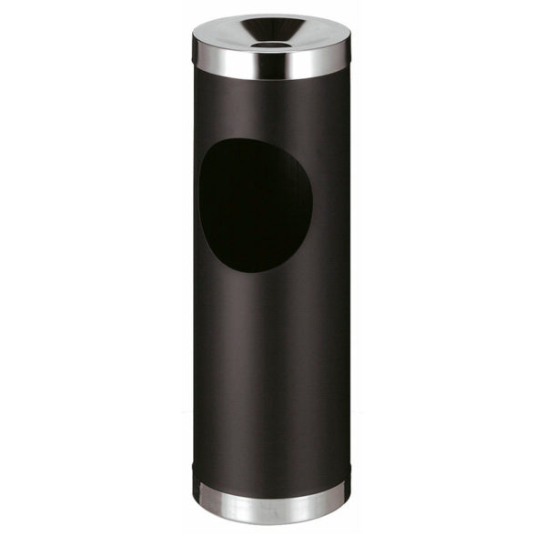 Smoke-Line robuster Aschenbecher-Papierkorb in schwarz