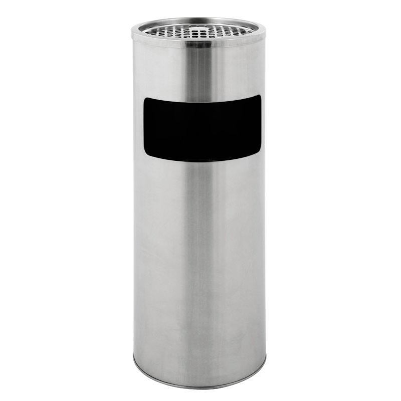 Smoke-Line runder Aschenbecher-Papierkorb matt Edelstahl