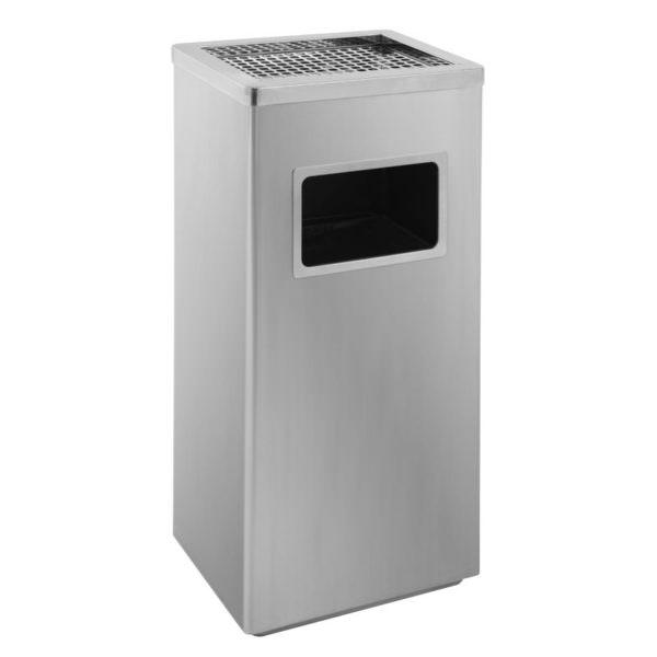 Aschenbecher-Abfall Kombination matt Edelstahl Smoke-Line 14,5 Liter